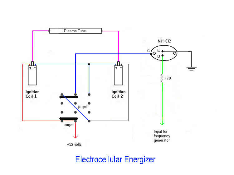 electro cellular energizer ii switch circuit diagram note test instrument wire was used to connect 1 4pdt or 3pdt switch 1 npn power transistor t0 3 2 banana jacks and 2 6 volt 1 5 ohm automotive